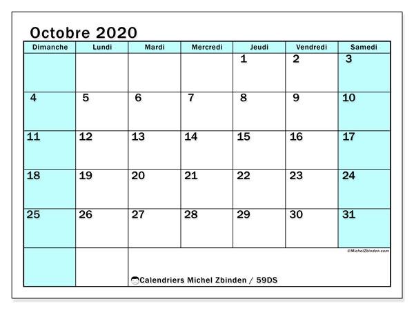 Calendrier octobre 2020, 59DS. Calendrier imprimable gratuit.