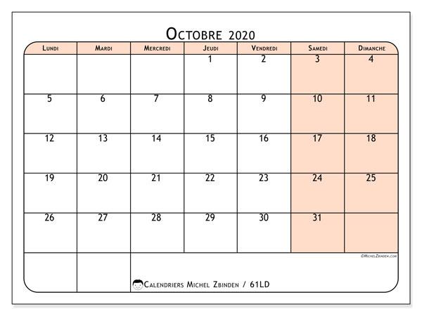 Calendrier octobre 2020, 61LD. Calendrier gratuit à imprimer.