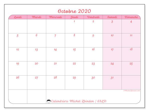 Calendrier octobre 2020, 63LD. Calendrier à imprimer gratuit.