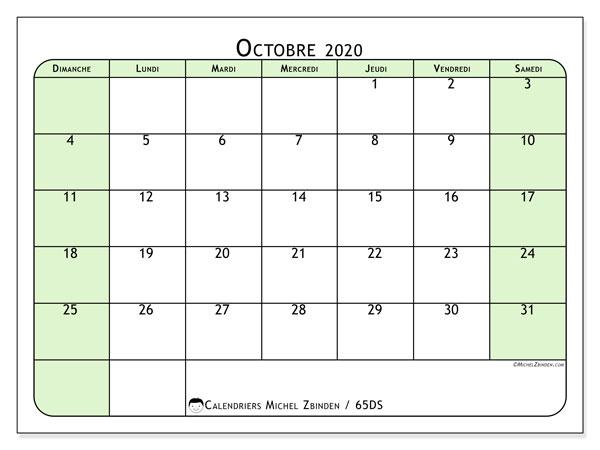 Calendrier octobre 2020, 65DS. Calendrier mensuel à imprimer gratuit.