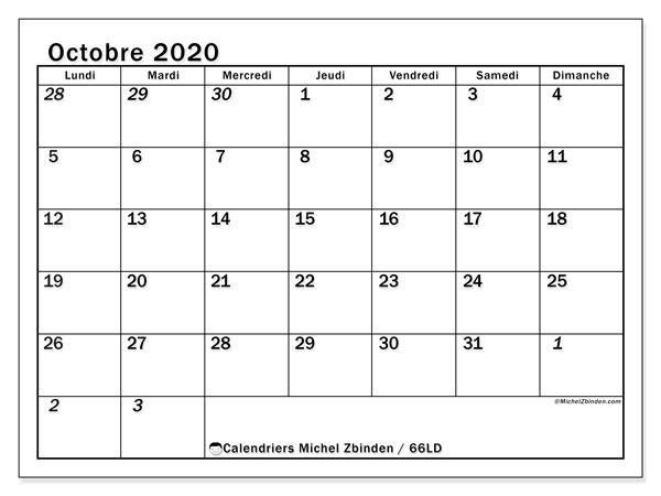 Calendrier octobre 2020, 66LD. Calendrier gratuit à imprimer.