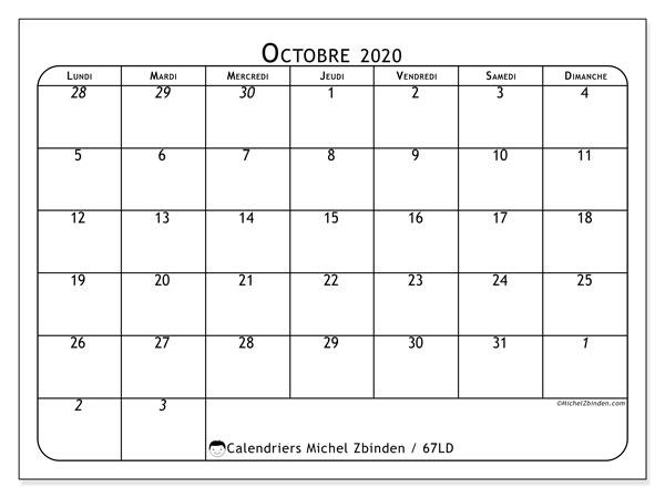 Calendrier octobre 2020, 67LD. Calendrier à imprimer gratuit.
