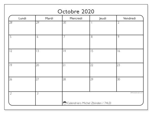 Calendrier octobre 2020, 74LD. Organisateur à imprimer gratuit.