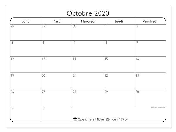 Calendrier octobre 2020, 74LV. Planificateur à imprimer gratuit.