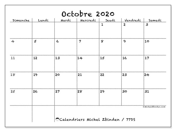 Calendriers octobre 2020 (DS).  77DS.
