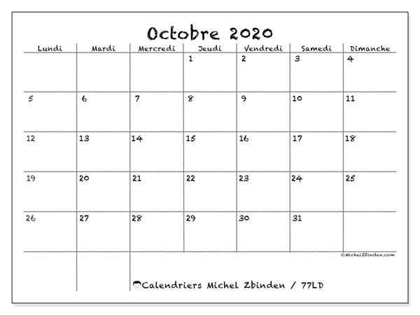 Calendrier octobre 2020, 77LD. Planificateur à imprimer gratuit.