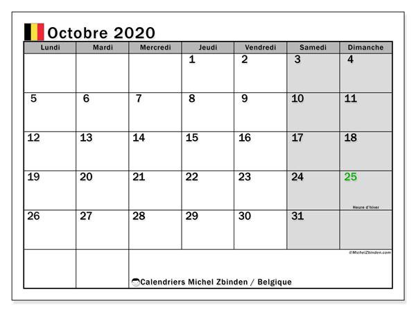 Calendrier octobre 2020, avec les jours fériés de la Belgique. Calendrier à imprimer gratuit avec jours fériés.