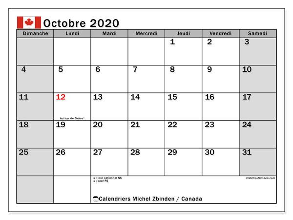Calendrier octobre 2020, avec les jours fériés de le Canada. Calendrier à imprimer gratuit avec jours fériés.