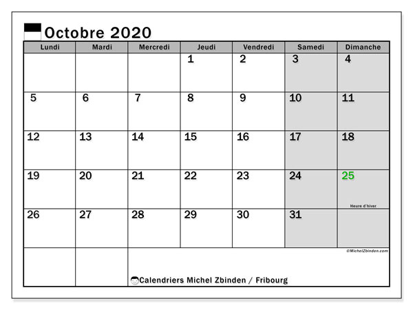 Calendrier Fribourg, 2020