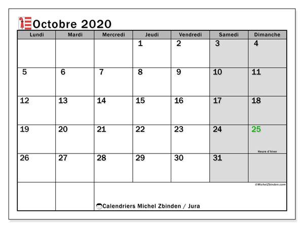 Calendrier octobre 2020, avec les jours fériés du Canton du Jura. Calendrier à imprimer gratuit avec jours fériés.