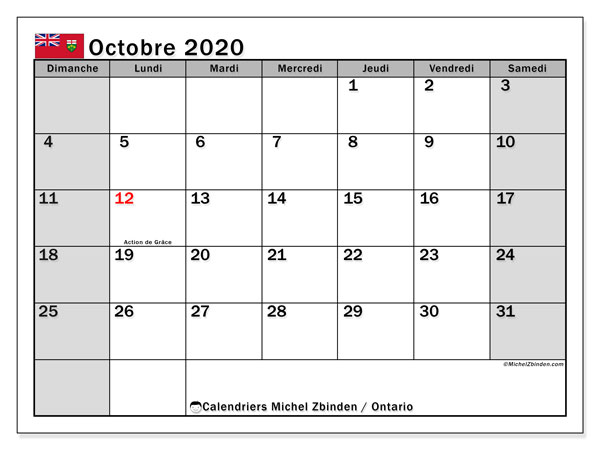 Calendrier octobre 2020, avec les jours fériés de l'Ontario. Calendrier à imprimer gratuit avec jours fériés.
