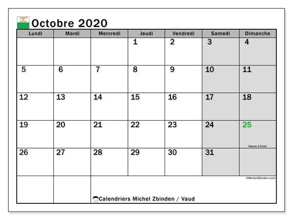 Calendrier octobre 2020, avec les jours fériés du Canton de Vaud. Calendrier à imprimer gratuit avec jours fériés.