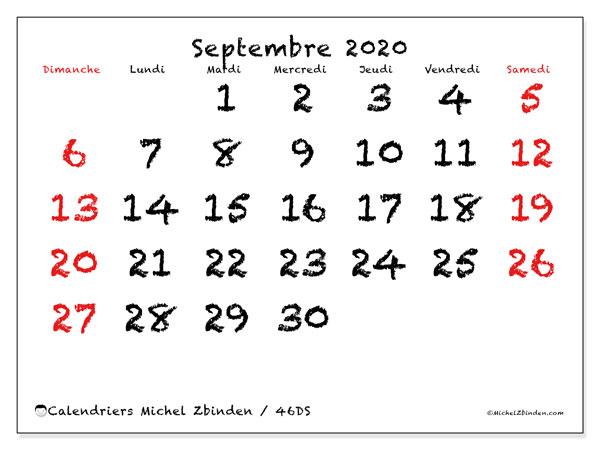 Calendrier septembre 2020, 46DS. Organisateur à imprimer gratuit.