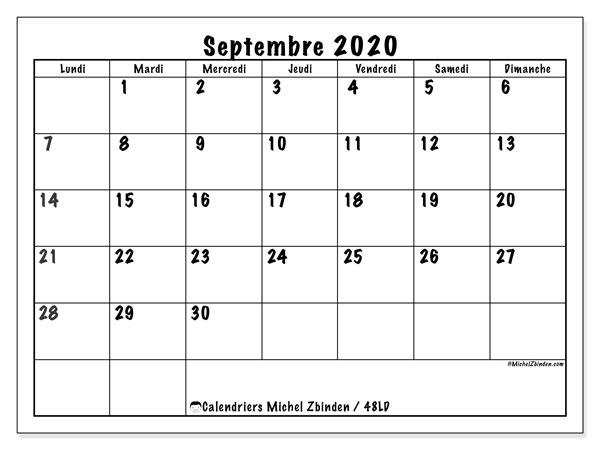 Calendrier De Septembre 2020.Calendriers Septembre 2020 Ld Michel Zbinden Fr
