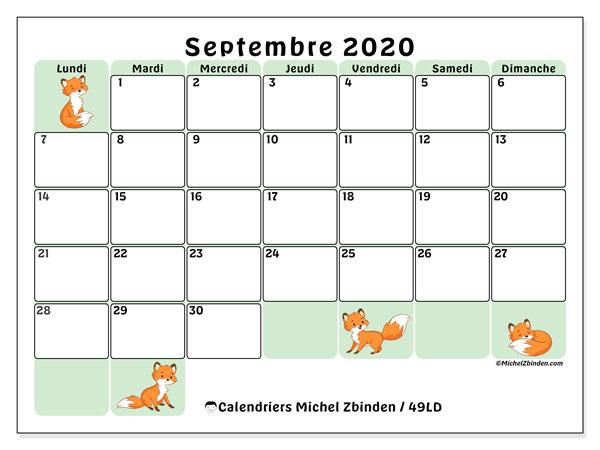 Calendrier septembre 2020, 49LD. Planificateur à imprimer gratuit.