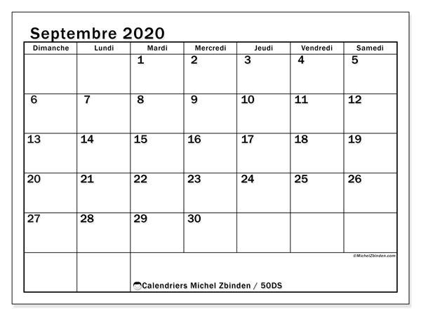 Calendrier septembre 2020, 50DS. Calendrier à imprimer gratuit.