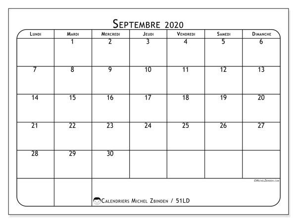 Calendrier septembre 2020, 51LD. Calendrier mensuel à imprimer gratuit.