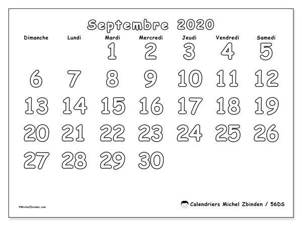 Calendrier septembre 2020, 56DS. Calendrier à imprimer gratuit.