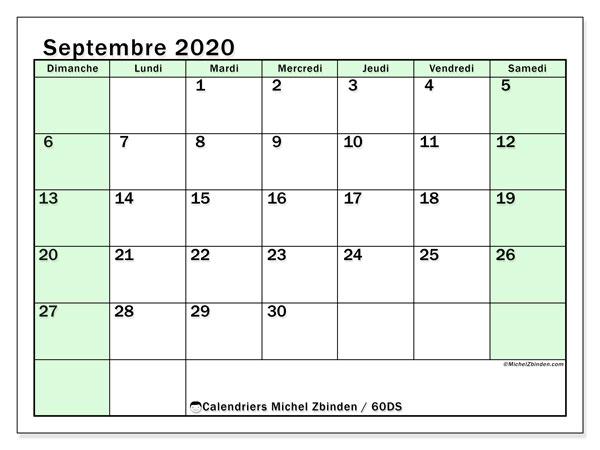 Calendrier septembre 2020, 60DS. Calendrier mensuel à imprimer gratuit.