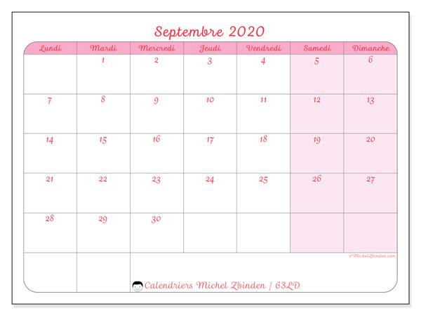 Calendrier septembre 2020, 63LD. Planificateur à imprimer gratuit.