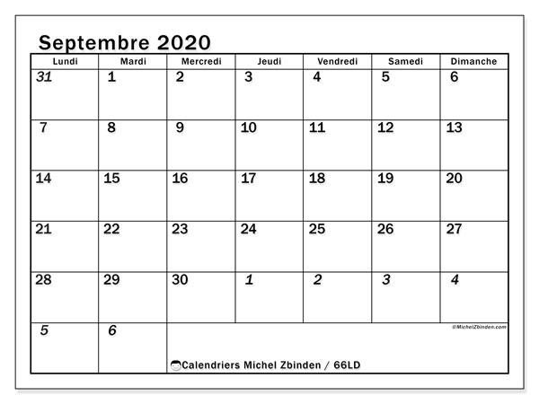 Calendrier septembre 2020, 66LD. Calendrier imprimable gratuit.