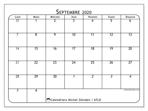 Calendrier septembre 2020, 67LD. Calendrier pour le mois à imprimer gratuit.