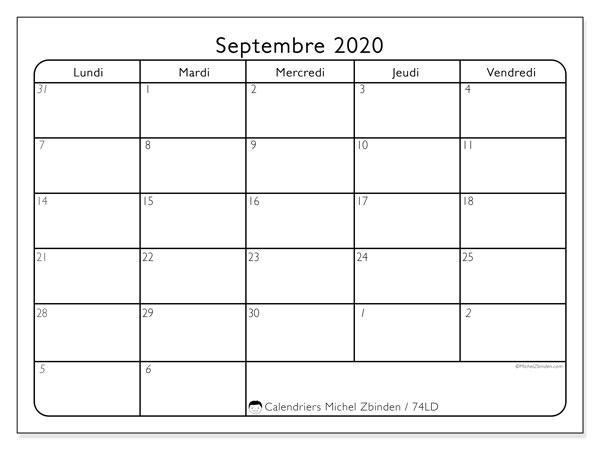 Calendrier septembre 2020, 74LD. Calendrier imprimable gratuit.