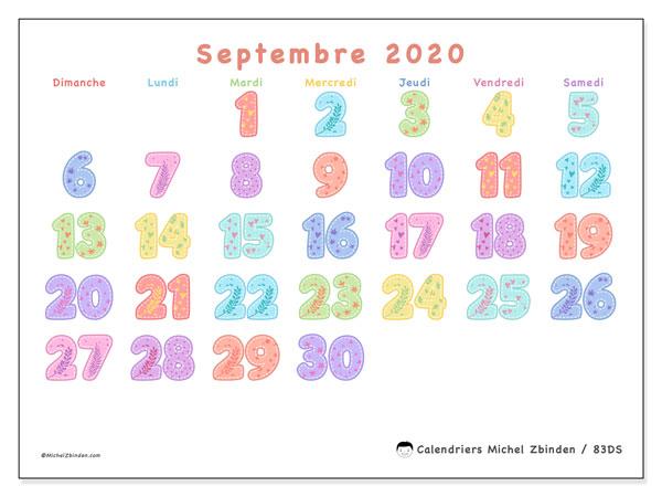 Calendrier septembre 2020, 83DS. Calendrier gratuit à imprimer.