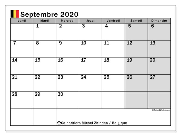 Calendrier septembre 2020, avec les jours fériés de la Belgique. Planificateur à imprimer gratuit.