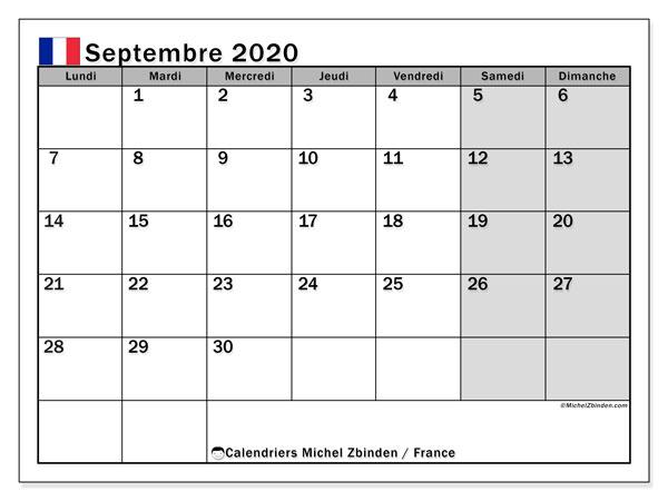 Calendrier septembre 2020, avec les jours fériés de la France. Calendrier à imprimer gratuit avec jours fériés.