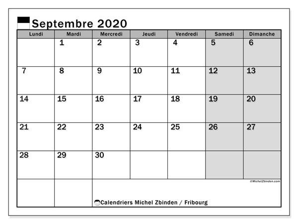 Calendrier septembre 2020, avec les jours fériés du Canton de Fribourg. Calendrier Fêtes et jours fériés à imprimer gratuit.