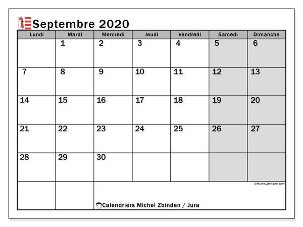 Calendrier septembre 2020, avec les jours fériés du Canton du Jura. Calendrier à imprimer gratuit avec jours fériés.
