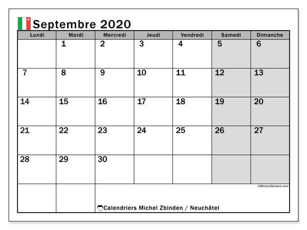 Calendrier septembre 2020, avec les jours fériés du Canton de Neuchâtel. Calendrier à imprimer gratuit avec jours fériés.