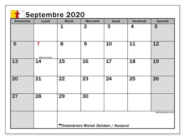 Calendrier septembre 2020, avec les jours fériés de le Nunavut. Calendrier à imprimer gratuit avec jours fériés.