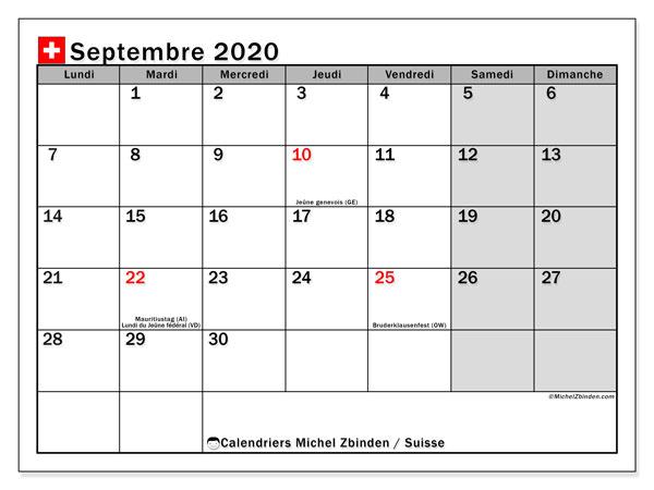Calendrier septembre 2020, avec les jours fériés de la Suisse. Calendrier Fêtes et jours fériés à imprimer gratuit.