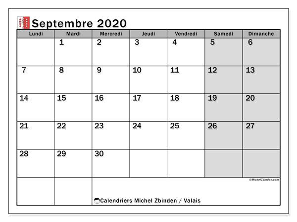 Calendrier septembre 2020, avec les jours fériés du Canton du Valais. Calendrier à imprimer gratuit avec jours fériés.
