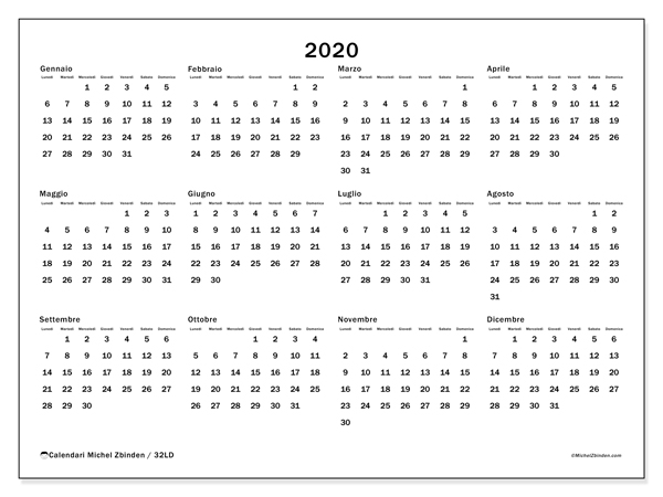 Calendario 2020 20 Da Stampare.Calendario 2020 32ld Michel Zbinden It