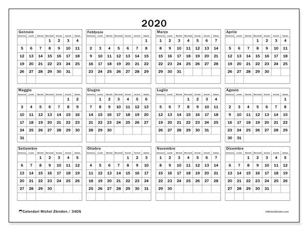 Calendario 2020 2020 Da Stampare.Calendario 2020 34ds Michel Zbinden It