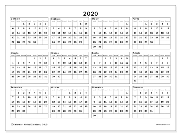 Calendario Annuale 2020 Italiano.Calendario Annuale 2020 Da Stampare Calendario 2020