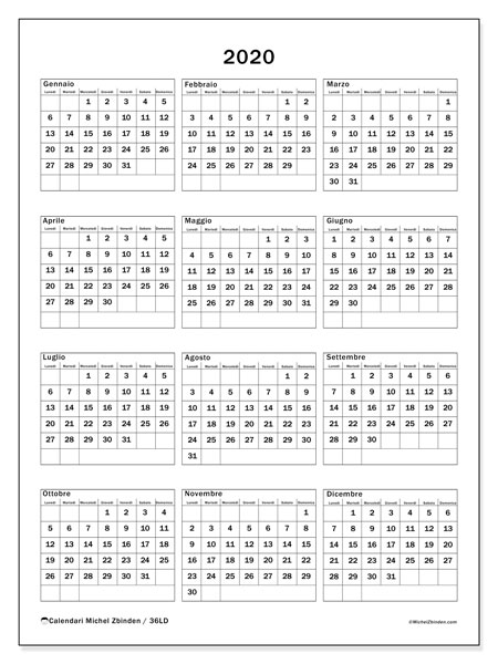 Calendario Da Stampare 2020 Gratis.Calendario 2020 36ld Michel Zbinden It