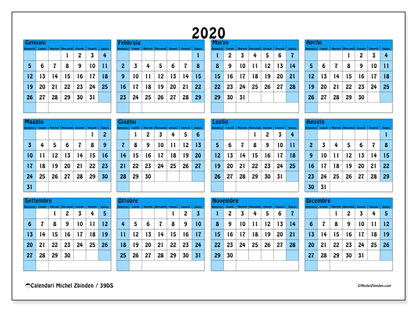 Calendario Annuale 2020 Italiano.Calendario 2020 39ds Michel Zbinden It