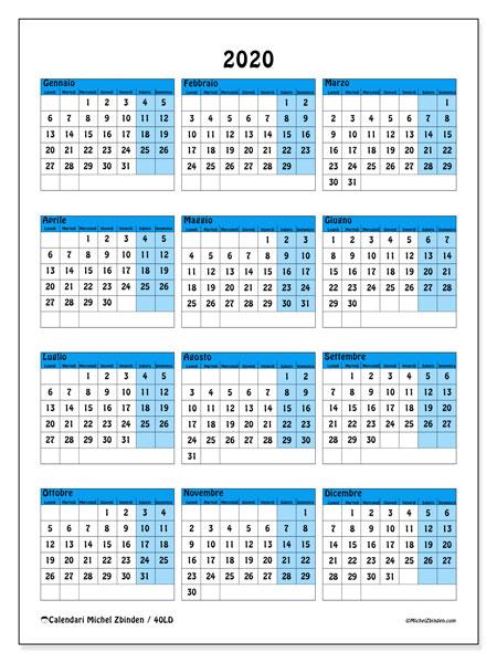 Calendario 2020, 40LD. Calendario annuale da stampare gratuitamente.