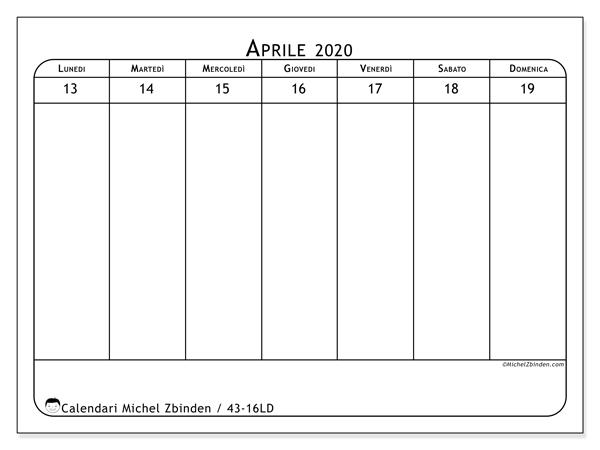 Calendario 2020, 43-16LD. Calendario stampabile gratuito.
