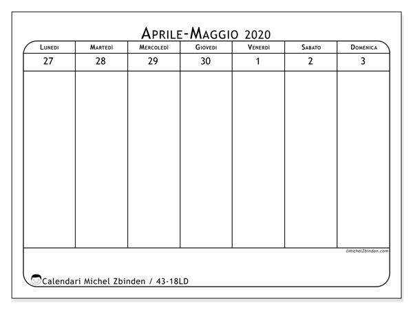 Calendario 2020, 43-18LD. Calendario stampabile gratuito.