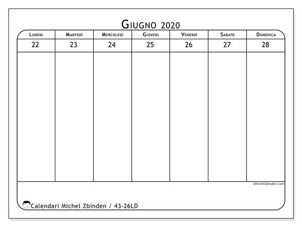Calendario 2020, 43-26LD. Calendario gratuito da stampare.