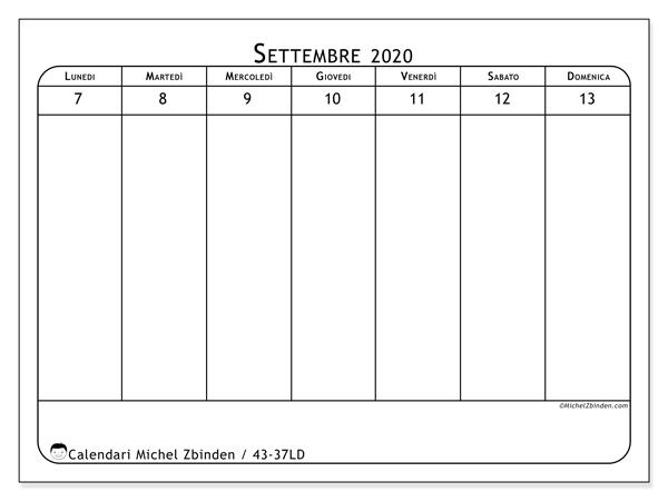 Calendario 2020, 43-37LD. Calendario da stampare gratis.