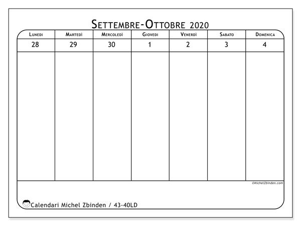 Calendario 2020, 43-40LD. Calendario da stampare gratis.