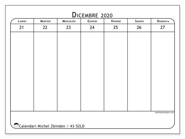 Calendario 2020, 43-52LD. Orario da stampare gratis.