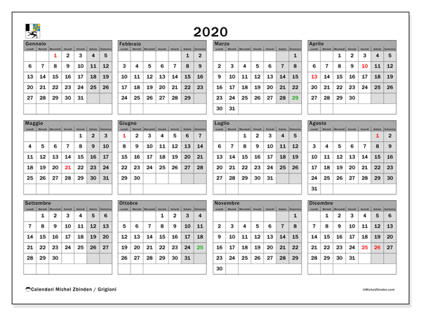 Calendario 2020 2020.Https Michelzbinden Com It Ch Calendari 2019 Calendario