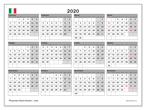 Calendari 2020, con  in Italia. Calendario stampabile gratuito.